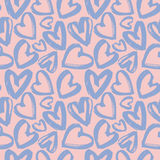 Seamless pattern of lilac hearts. Seamless pattern of handdrawn brush lilac hearts on pink background. Hand painted vector illustration. Design for fabric Stock Images