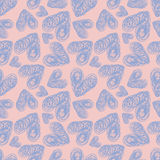 Seamless pattern lilac hearts. With rough edges on pink background. Hand painted vector illustration. Design for fabric, textile, wrapping paper, card Royalty Free Stock Photography