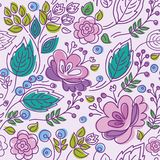 Seamless pattern, lilac, purple outline, pink flowers, emerald leaves. Stock Photo