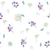 Seamless pattern with  lilac roses and some floral elements. Stock Photo
