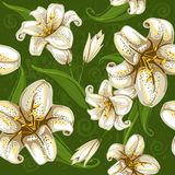 Seamless pattern with lilies vector illustration