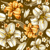 Seamless pattern with lilies stock illustration