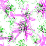 Seamless pattern lilies Royalty Free Stock Images