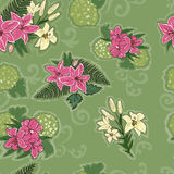 Seamless pattern with lilies. Floral background with beautiful lilies royalty free illustration