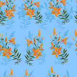 Seamless pattern with lilies. Stock Photo