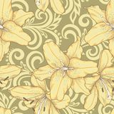 Seamless pattern with lilies flowers and abstract floral swirls Stock Photos