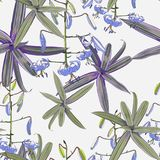 Seamless pattern, lilies flowers and green exotic plants on light background. Violet tones stock illustration