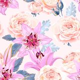 Seamless pattern with lilies and roses Royalty Free Stock Photography