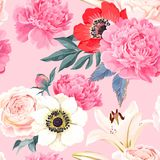 Seamless pattern with lilies and roses Stock Images