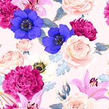 Seamless pattern with lilies and roses Royalty Free Stock Photos