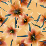 Seamless pattern with lilies texture background. Seamless pattern with lilies texture on yellow background Stock Photos