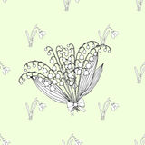 Seamless pattern with lilies of the valley Royalty Free Stock Image