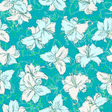 Seamless pattern with lilies Stock Photo
