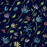 Seamless pattern with lily on blue Stock Image