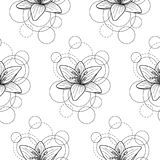 Seamless pattern with lily and circles on white background. Abstract floral seamless pattern with lily and circles on white background. Fashion background for Royalty Free Stock Image