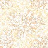 Seamless Pattern, Lily Flowers Contours. Seamless Floral Pattern, Lily and Mine Flowers Contours on White Background. Vector Stock Photo