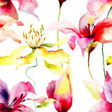 Seamless pattern with Lily flowers Royalty Free Stock Image