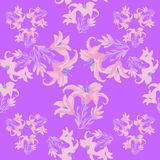 Seamless pattern with lily on a purple background. vector illust Stock Photos