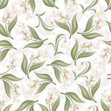 Seamless pattern with lily of the valley and snowd Royalty Free Stock Image