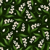 Seamless pattern with lily of the valley and snowdrop flowers. Vector illustration. Vector seamless pattern with lily of the valley and snowdrop flowers on dark Stock Image