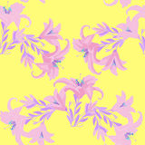 Seamless pattern with lily on a yellow background. vector illust Stock Photography
