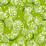 Seamless pattern with limes. Ice cubes and soda bubbles. Fresh healthy juice. Delicious flavored cold drink. Green stylized citrus fruits whole and slices royalty free illustration