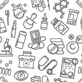 Seamless pattern of line art style medical care, health hygiene Royalty Free Stock Photos