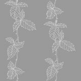 Seamless pattern. Line art vertical leaves on gray background Stock Image