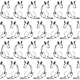 Seamless pattern with the line dogs. А simple print with dogs the symbol of 2018 on a white background. It can be used as wrapping paper, Wallpaper, textiles Royalty Free Stock Images