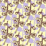 Seamless pattern with line drawing herbs Royalty Free Stock Photography