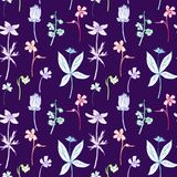 Seamless pattern with line drawing herbs Stock Images