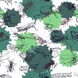 Seamless pattern with line drawing insects Royalty Free Stock Photo