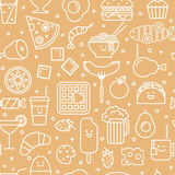 Seamless pattern with line icons of fast food Royalty Free Stock Photos