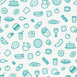 Seamless Pattern With Line Icons of Food Like Sausage, Cake, Donut, Croissant, Bacon, Muffins, Coffee, Salad etc. Stock Photo