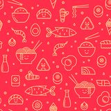 Seamless pattern with line icons of japanese food vector illustration