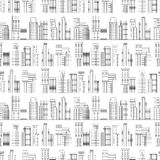 Seamless pattern of line skyscrapers. Black and white Stock Images