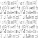 Seamless pattern of line skyscrapers. Black and white Royalty Free Stock Images