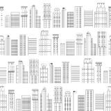 Seamless pattern of line skyscrapers. Black and white Stock Photos
