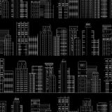 Seamless pattern of line skyscrapers. Black and white Royalty Free Stock Image