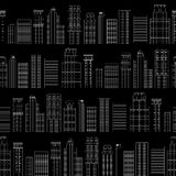 Seamless pattern of line skyscrapers. Black and white Stock Photography