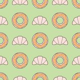 Seamless Pattern With Line Style Croissants And Donuts On Muted Retro Color Background. Vector Illustration stock illustration