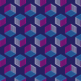 Seamless pattern with line style isometric cubes Royalty Free Stock Photo