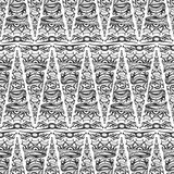Seamless pattern - linear abstract black and white background Royalty Free Stock Photos