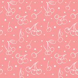 A seamless pattern with linear cherry and polka dot on pink. Royalty Free Stock Images