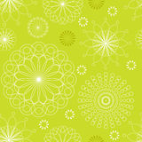 Seamless pattern linear floral ornament on a green background. vector illustration Royalty Free Stock Photo