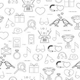 Seamless pattern linear style icons grey on a white background. Love signs on Valentine's Day Royalty Free Stock Photo