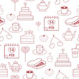 Seamless pattern linear style icons red on a white background. pastries decorated with hearts for Valentine's Day Stock Photography