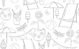 Seamless pattern lineart summer vacation Royalty Free Stock Photography