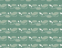 Seamless pattern from lines of of water lilies Stock Images