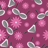 Seamless pattern with lingerie and flowers Stock Photo